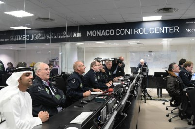 HSH Prince Albert with HE Michel Roger and the staff at the Monaco Control Center for Solar Impulse 2 @G.Luci, Prince's Palace