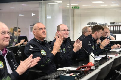 HSH Prince Albert with Raymond Clerc and his staff at the Monaco Control Center for Solar Impulse 2 @G.Luci, Prince's Palace