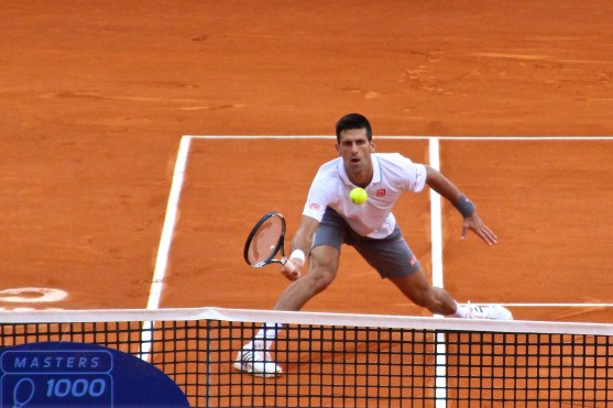 Djokovic at the net Apr16, 2015 @CelinaLafuenteDeLavotha