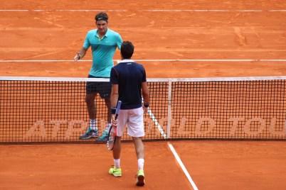 Roger Federer saluting Jeremy Chardy April 15, 2015 @CelinaLafuenteDeLavotha