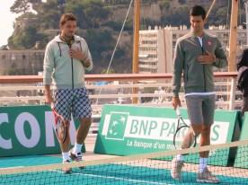 Stan Wawrinka and Novak Djokovic ready for the exhibition @CelinaLafuenteDeLavotha