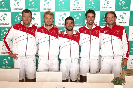 The Monegasque Davis Cup team at the Press Conference before the matches against Morocco@MTF2015