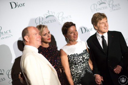Prince Albert, Princess Charlene with Sibylle Szaggars Redford and Robert Redford 2015 Photo credits@Frederic Nebinger3