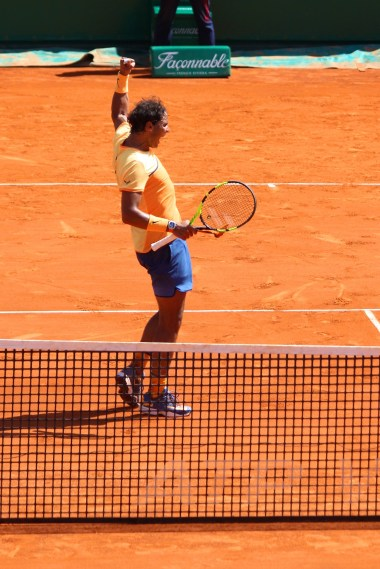 Nadal celebrating his win over Stan Wawrinka April 15, 2016 @CelinaLafuenteDeLavotha