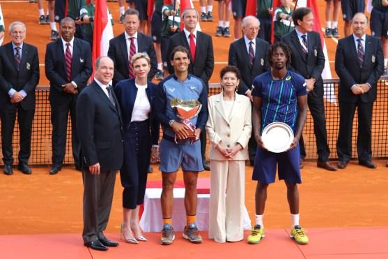 Prince Albert, Princess Charlene, Rafael Nadal, Baronne Elizabeth Ann de Massy and Gael Monfils at the trophy ceremony of the MCRM @CelinaLafuenteDeLavotha