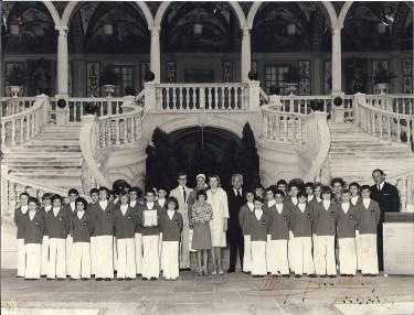 The Monaco Boys Chorus with Philipped Debat at the Prince's Palace with Prince Rainier III, Princess Grace and their three children,1974 @ Les Petits Chanteurs de Monaco