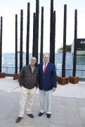 Prince Albert II and Philippe Pastrr with his installation Les Arbres Brules at EAFMonaco 2016