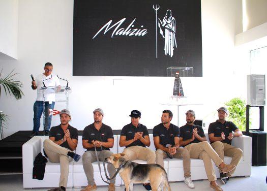 Pierre Casiraghi, Adam Piggot, Richard Mason, Sebastien Col, Boris Herrmann and Holger Lehning with their mascot Uma @CelinaLafuenteDeLavotha