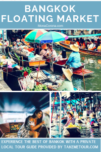 Bangkok, Thailand Guide | Click this pin to read about what to do in Bangkok including visiting the Bangkok Floating Market and the Bangkok Umbrella Market / Bangkok Railway Market, all with a private local guide! Here you will also find the best hotel in Bangkok for affordable luxury. | MonaCorona.com | @TakeMeTour | #bangkok #thailand #travelguide #hotels #travel #floatingmarket #thingsdoinbangkok #shoppinginbangkok #tours #itinerary #bangkokitinerary #rooftopbar #restaurant #rooftop