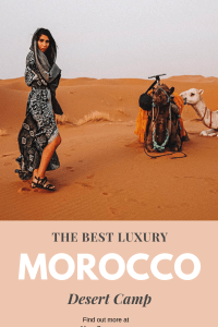 Looking to go glamping in the Sahara Desert, Morocco? Click here to learn all about the best luxury desert camp in Morocco. Glamping/Camping in the Morocco is a bucket list must, and glamping in Merzouga (Sahara Desert) is the best way to do it. | MonaCorona.com #monacorona #Morocco #saharadesert #cameltrekking #ergchebbi #merzouga #desertluxurycamp #marrakech #fes #glamping