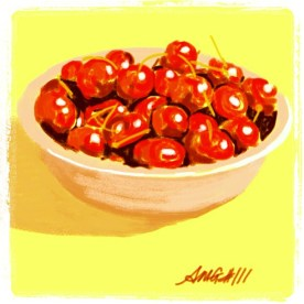 """April 22 (#111): Draw a bowl App: Brushes """"Life is just a bowl of cherries"""" on this first day back to school from April vacation... ☺ #everydaydrawingchallenge #brushes"""