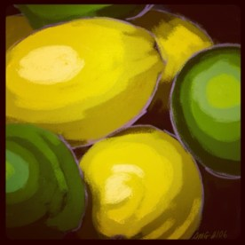 April 17 (#106): Draw something tart or sour App: Brushes Lemon and lime, eat them all the time...ok, not really, but it rhymes... #everydaydrawingchallenge #brushes