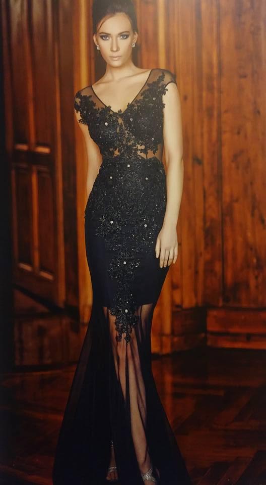 robe libanaise noire perlée