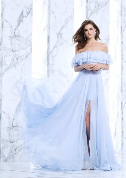 robe bleu pâle off shoulders Tarik Ediz