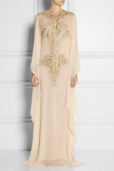robe Dubaï beige et dorée mariage oriental