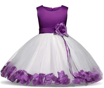 Robe mariage petite fille blanche et violette
