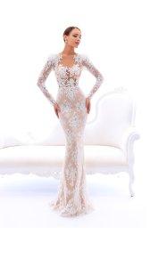 tarik ediz classique robe de soiree robe longue orientale turque blanche creme manches longues moulantes sirene trompette
