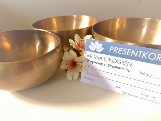 Presentkort Mona Lundgren Klangmassage stresshantering avslappning