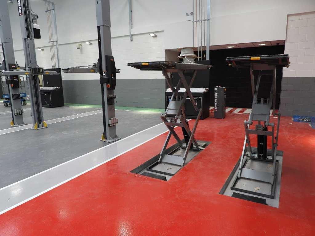 garage floor paint car workshop resin floor red