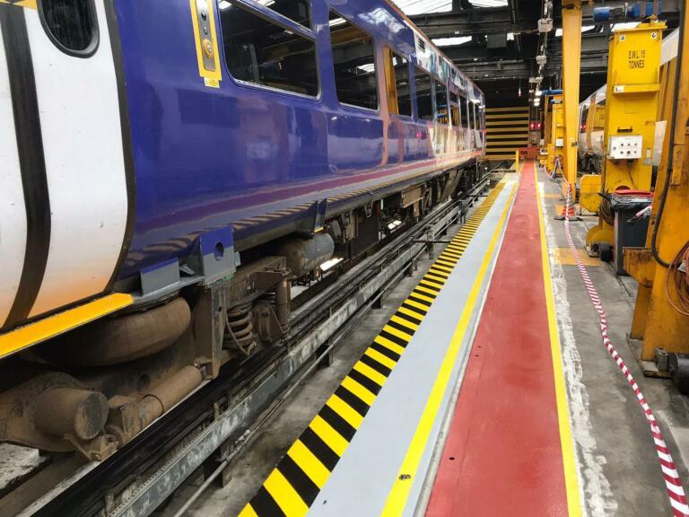 train workshop floor resin