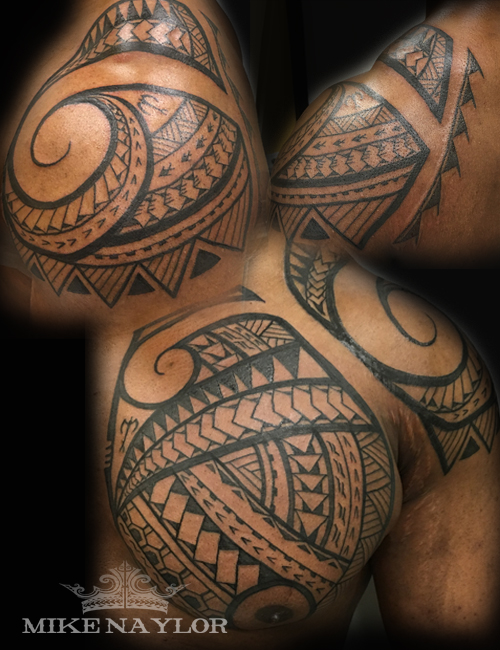polynesian chest plate and shoulder tattoo