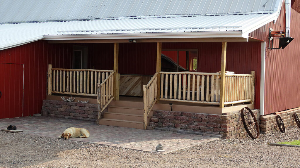 Updated barn with porch