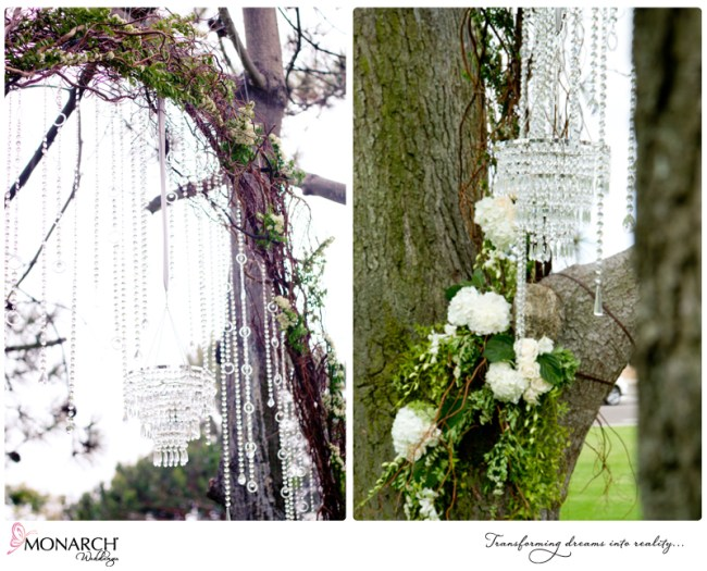 Crystal-chandelier-branch-arch-shabby-chic-park-wedding