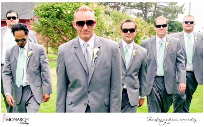Groomsmen-Gray-suit-mint-green-tie-shabby-chic-park-wedding