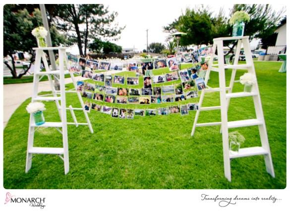 cocktail-hour-shabby-chic-park-wedding-photo-ladder-at-wedding