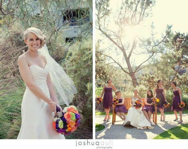 Bride-and-Purple-bridesmaids-dresses-Lodge-at-Torrey-Pines