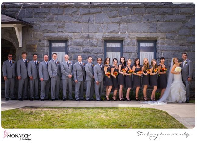 orange-gray-bridesmaids-groomsmen-at-church-admiral-kidd-club-wedding