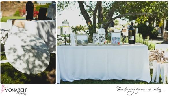 Guest-book-wine-bottle-burlap-runner-rustic-chic-wedding-white-parasol