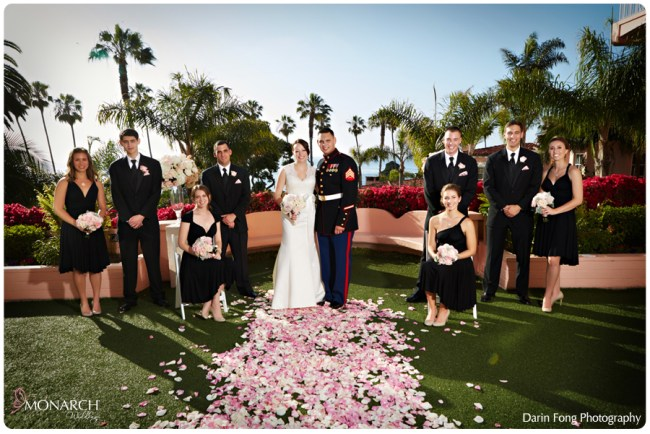 Bridal-party-pink-wedding-la-valencia-hotel