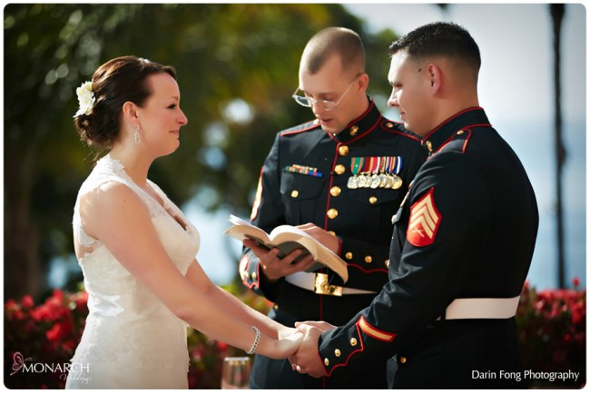 Bride-and-groom-ceremony-military-wedding-la-valencia-hotel