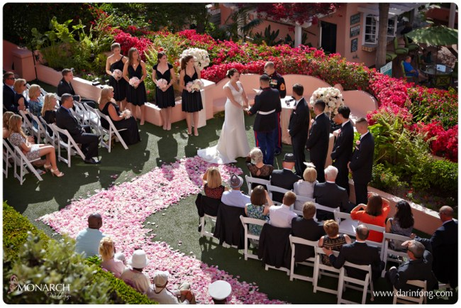 Pink-rose-petal-path-la-valencia-hotel-wedding