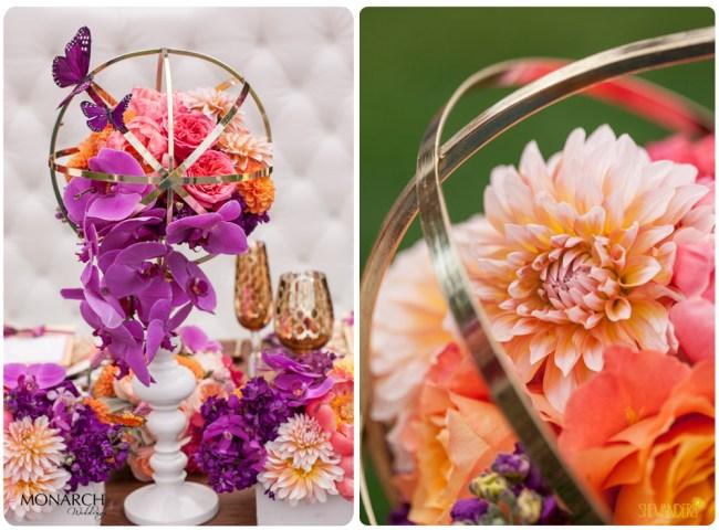 Purple-Phalaenopsis-coral-peony-dahlia-gold-globe-monarch-butterfly