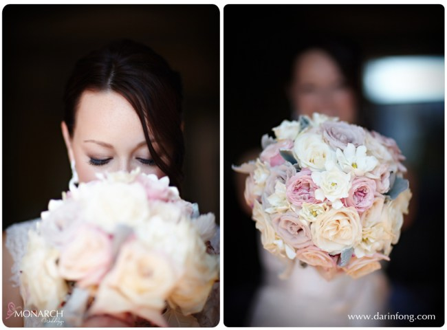 Bride-with-bridal-bouquet-pink-white-roses-la-valencia-hotel-wedding