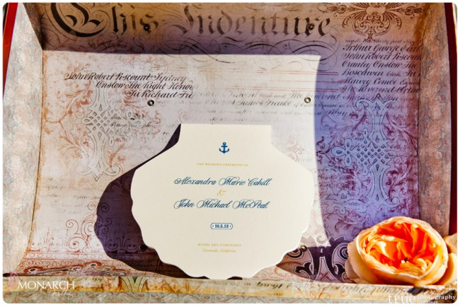 Vintage-nautical-wedding-hotel-del-shell-shaped-program
