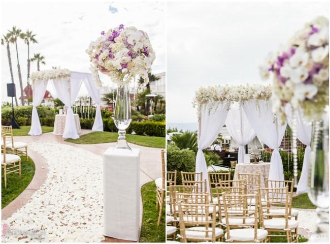 Glamorous-ivory-ceremony-arbor-hotel-del-coronado-wedding