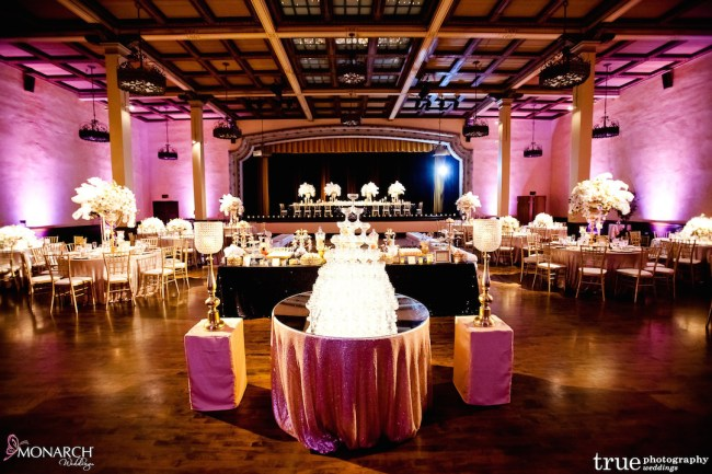Prado-at-Balboa-Park-wedding-blush-uplights-champagne-tower