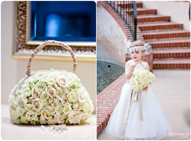 Flowergirl-flower-purse-gatsby-wedding-prado-balboa-park