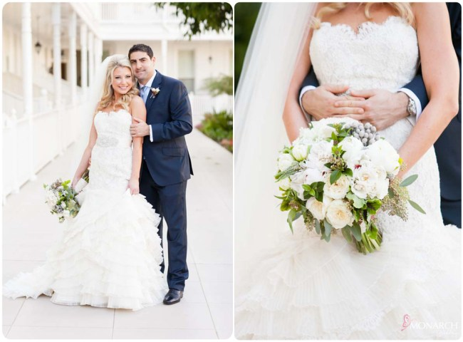 Bride-Groom-Lace-wedding-dress-hotel-del-coronado-wedding