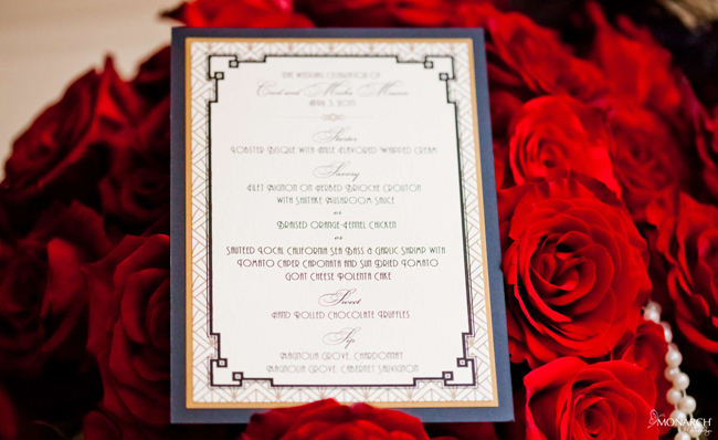 Gatsby-designed-menu-whimsique-red-roses-Wedding