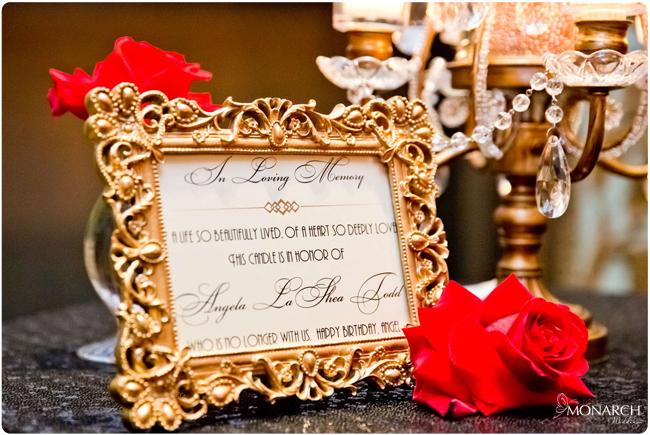 Memorial-sign-gatsby-wedding-black-sequin-linen-red-roses