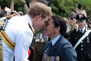 Prince Harry greets Wai Paenga, Sergent of New Zealand Air Force