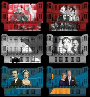 """Durante o espetáculo """"Noites de Luz de Luxemburgo"""", a fachada do Palácio Grã-Ducal é iluminada com a história da Casa de Nassau no Grão-Ducado de Luxemburgo. Foto 1: o Grão-Duque Adolfo (1817-1905) e sua esposa, Princesa Adelaide Maria de Anhalt-Dessau (1833-1916). Foto 2: o Grão-Duque Guilherme IV (1852-1912) e sua esposa, Infanta Dona Maria Ana de Portugal (1861-1942). Foto 3: a Grã-Duquesa Maria Adelaide (1894-1924). Foto 4: a Grã-Duquesa Carlota (1896-1985) e seu marido, Príncipe Félix de Bourbon e Parma (1893-1970). Foto 5: o Grão-Duque Jean e sua falecida esposa, Princesa Josephine-Charlotte da Bélgica (1927-2005). Foto 6: o Grão-Duque Henri e sua esposa, Maria Teresa Mestre y Batista."""