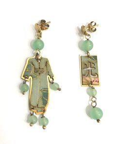 orecchini kimono mini argento 925 pietra verde lebole gioielli