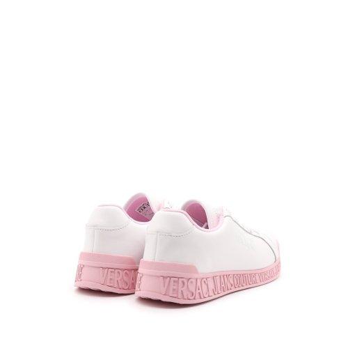 scarpa donna tennis sneaker bianca suola rosa logo versace jeans couture 04
