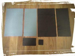 Pièces de cuir et de Cotton découpées aux bonnes dimensions