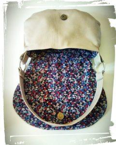 Réalisation sac besace en cuir porté épaule patron hand made cousu main interieur tissu monblabladefille.com